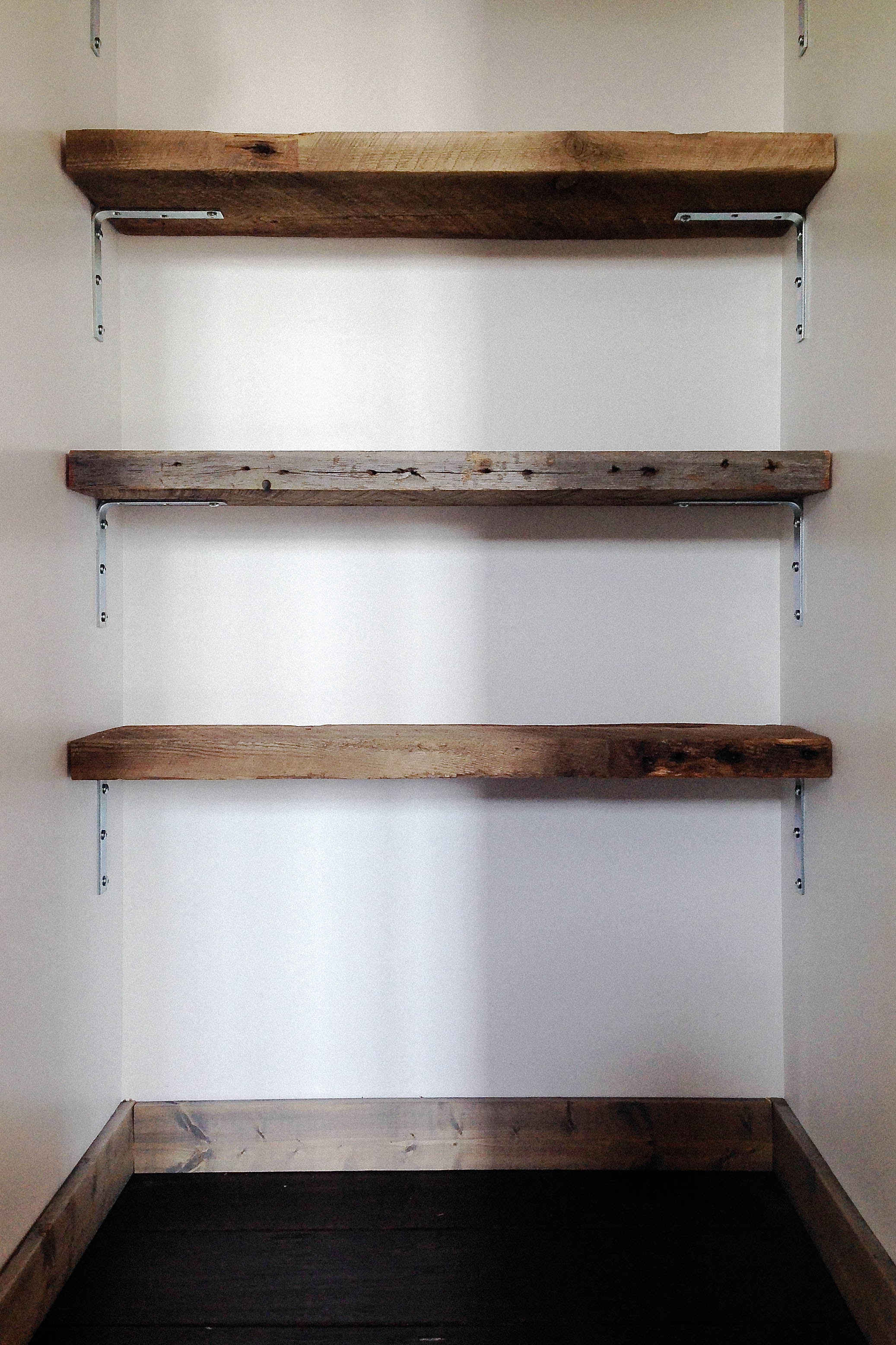 Here's what you need to make your own reclaimed wood shelving: